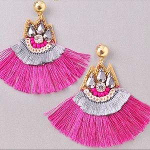 Jewelry - NEW! Stud Post Beaded Tassel Statement Earrings